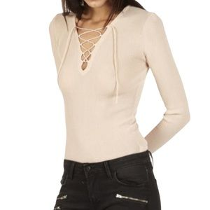 Sandro Paris Lace Up Front Wool Blend Sweater